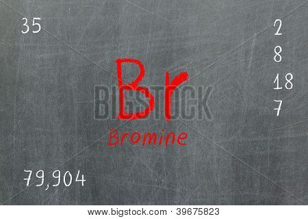 Isolated Blackboard With Periodic Table, Bromine