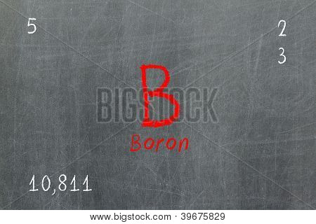 Isolated Blackboard With Periodic Table, Boron