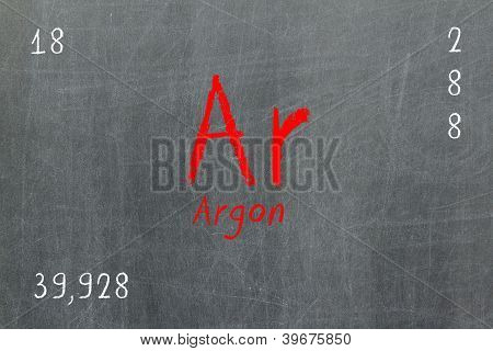 Isolated Blackboard With Periodic Table, Argon