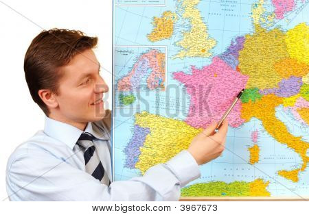 Businessman Pointing On The Map,Clipping Path Included