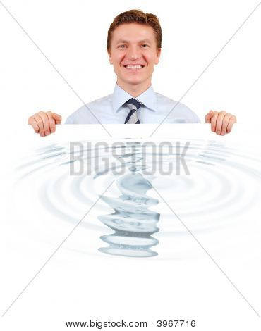 Confident Business Holding A White Board With Water Reflection