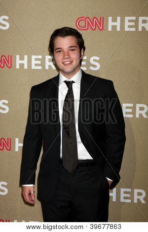 LOS ANGELES - DEC 2:  Nathan Kress arrives to the 2012 CNN Heroes Awards at Shrine Auditorium on December 2, 2012 in Los Angeles, CA