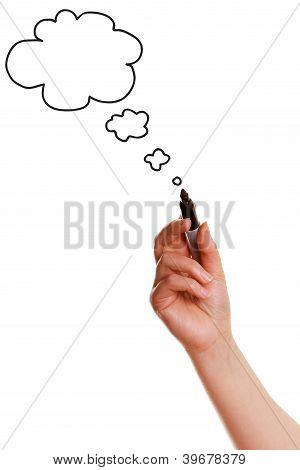 Female Hand Drawing Bubble Speech