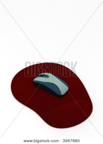 Computer Mouse On Red Pad