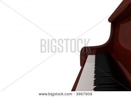 Piano Keyboard Close Up ,  3D Render