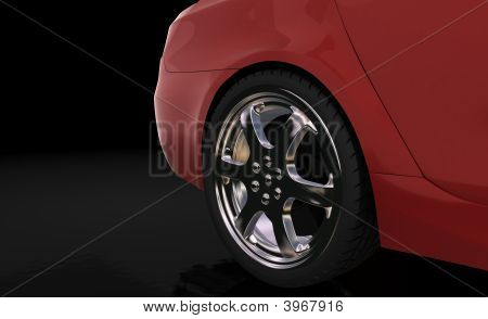 Red Sport Car , Rear Wheel