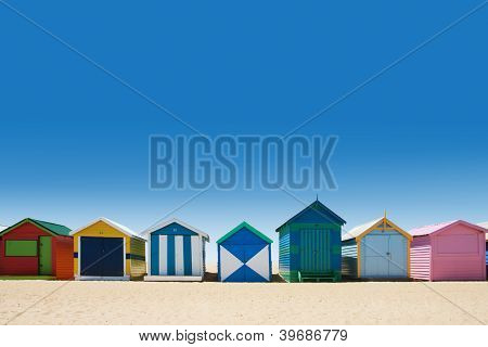 Beautiful Bathing Houses On White Sand Beach