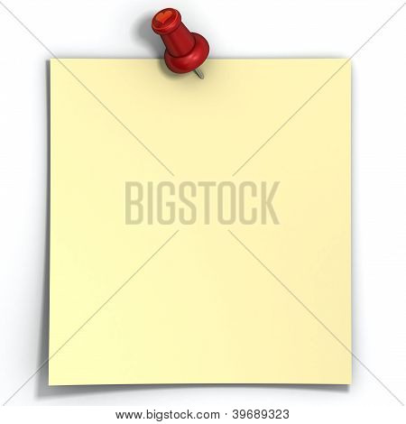 Blank Yellow Love Note Paper Is Pinned By Pin With Heart. Isolated On White Background.