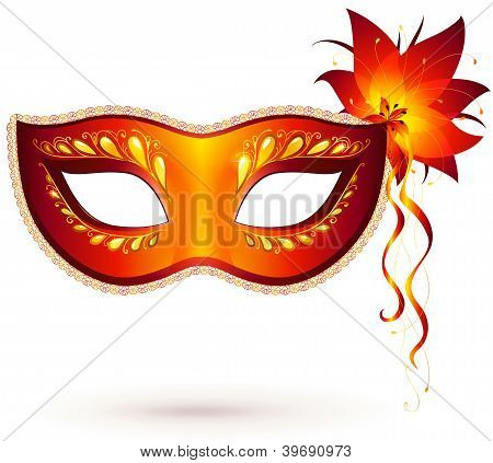 Vector red venitian carnival mask