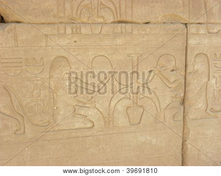 Hieroglyphs and Figures inscribed in Temple Wall
