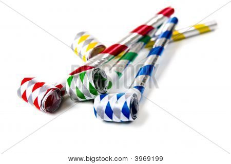 Party Noisemakers On White