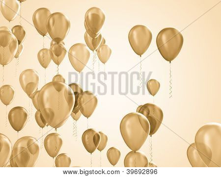 Golden balloons background