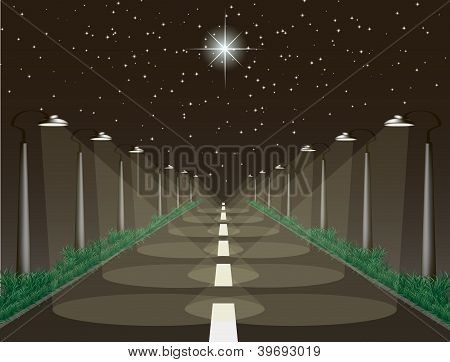 The Highway With Night Sky