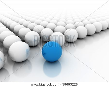 Blue Sphere Standing Out
