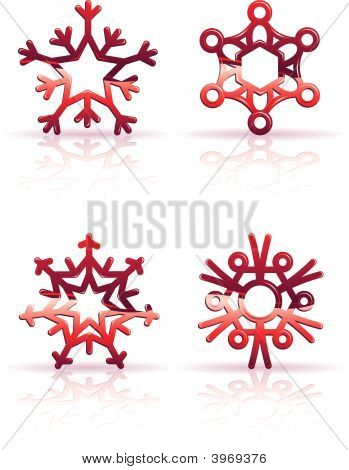 3D Red Snowflake Icons