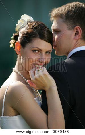 Close Up Of Smiling Bride On Wedding Day