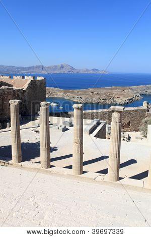 Columns Of Propylaea Of Lindos Acropolis