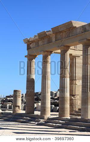Facade Of Propylaea Of Lindos Acropolis