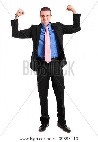 Unbeatable businessman portrait showing muscles