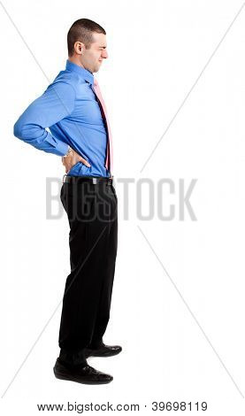 Man suffering for a backache full length