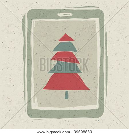 Xmas tree on tablet device screen. Raster version, vector file available in portfolio.