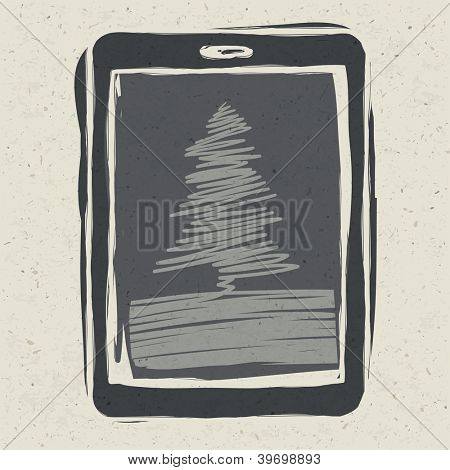 Christmas tree on tablet device. Raster version, vector file available in portfolio.