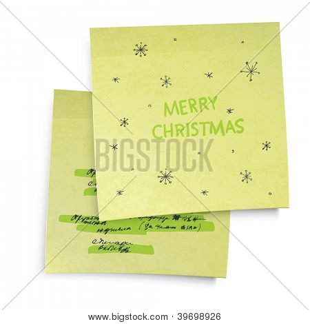 Business yellow sticky notes with Merry Christmas greetings. Raster version, vector file available in portfolio.
