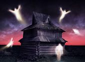 picture of wraith  - Ghosts flying around decrepit and abandoned house - JPG