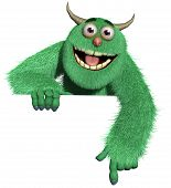 stock photo of bigfoot  - 3 d cartoon cute furry halloween monster - JPG