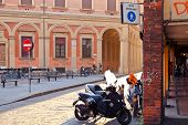 Piazza Vittorio Puntoni In Bologna At Warm Autumn Afternoon