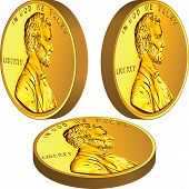 pic of foreshortening  - American gold money one cent coin in three different angles - JPG