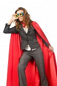 stock photo of superwoman  - Superwoman isolated on the white - JPG