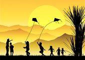stock photo of kites  - Silhouette of children running and playing kites at sunset with mountains and sun background - JPG