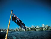 Australian Flag With Buildings poster