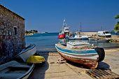 stock photo of kali  - Small harbor in fishermen village of Kali Island of Ugljan Croatia - JPG