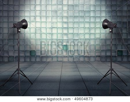 photo studio in old empty modern interior with glass wall