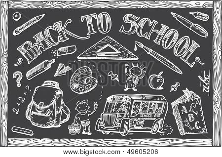 Back to School set of vector doodles