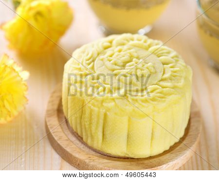 Snowy skin mooncakes.  Traditional Chinese mid autumn festival food. The Chinese words on the mooncakes means lotus paste, not a logo or trademark.