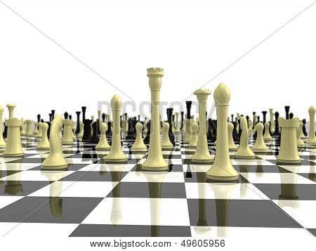 Infinite chess board with a variety of chess piece