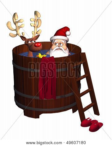 Hot Tub Santa - isolated