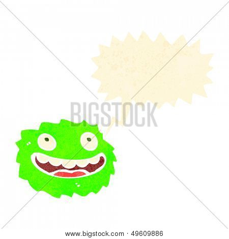 happy little furball monster with speech bubble