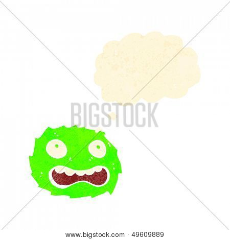 retro cartoon little furball monster with thought bubble