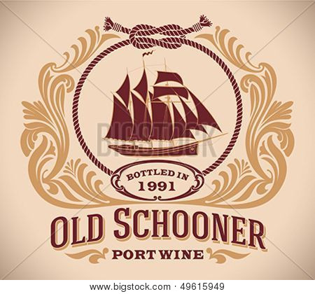 Retro-styled port wine label including the image of a sailboat. Editable vector illustration.