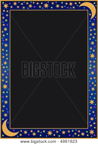 Blue Gradient Border With Many Little Stars