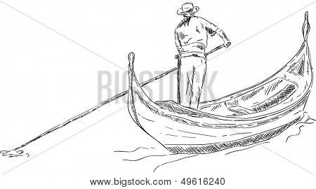 vector -  Gondola with sailor, isolated on background