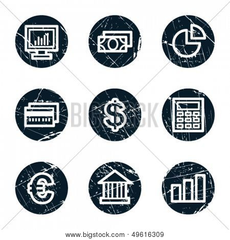 Finance web icons set 1, grunge circle buttons