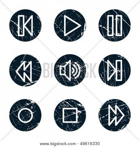 Walkman web icons, grunge circle buttons