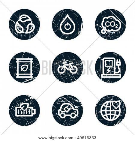 Ecology web icons set 4, grunge circle buttons