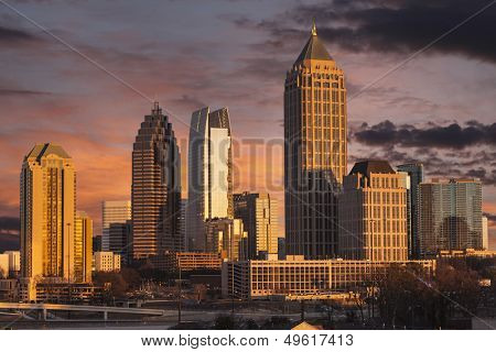 Atlanta Georgia skyline with sunset dusk sky