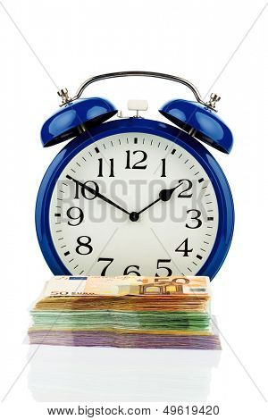 clock and banknotes, symbolic photo for wage costs, labor costs, working time